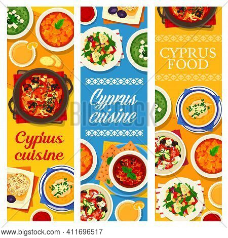 Cyprus Cuisine Vector Grapefruit Salad With Goat Cheese, Pilaf And Lemon Chicken Soup Avgolemono. Ba
