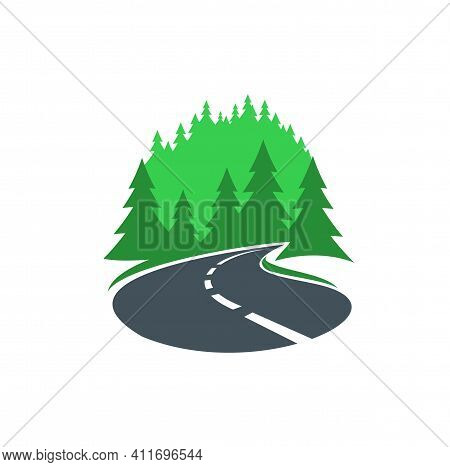 Road In Forest Icon, Highway Or Path Way Asphalt, Vector Sign. Road And Forest Street Symbol Or Path
