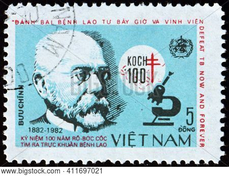 Vietnam - Circa 1983: A Stamp Printed In Vietnam Shows Robert Koch, Was A German Physician And Micro