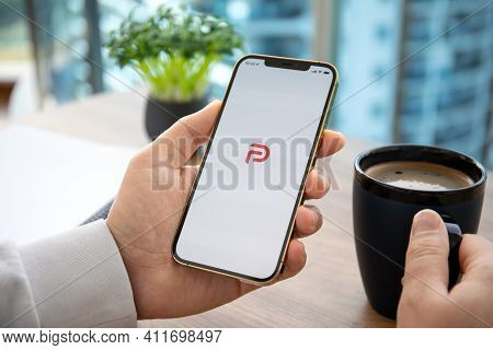 Alanya, Turkey - January 12, 2020: Man Hand Holding Iphone 12 Pro Max Gold With Social Networking Se