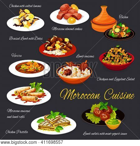 Moroccan Cuisine Vector Menu Dishes Chicken With Salted Lemons, Braised Lamb With Dates, Almond Cook