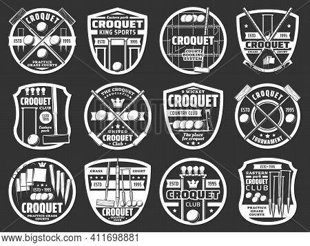 Croquet Sport Club Monochrome Icons Set. Croquet Equipment, Mallet, Ball And Hop, Peg, Clip And Flag