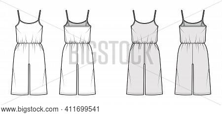 Camisole Jumpsuit Dungaree Overall Technical Fashion Illustration With Knee Length, Normal Elastic W
