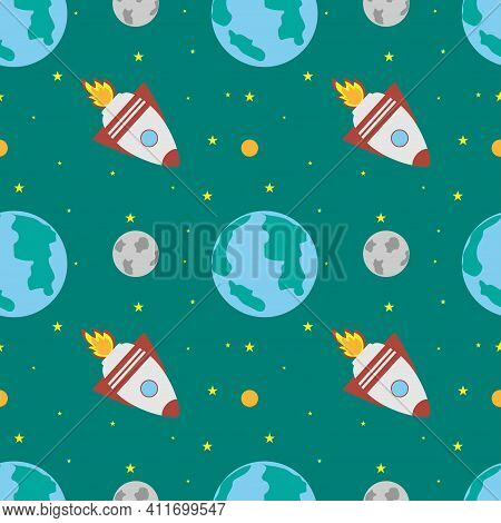A Space Rocket Flies Near The Earth And The Moon On A Green Background. Space Exploration. Travel To