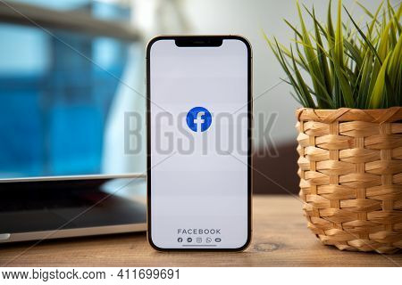 Alanya, Turkey - February 25, 2021: Iphone 12 Pro Max Gold With Social Networking Service Messenger