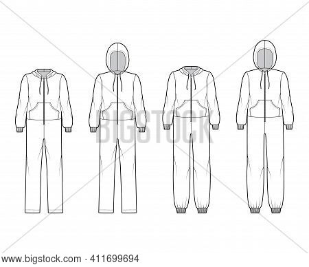 Set Of Onesie Overall Jumpsuit Sleepwear Technical Fashion Illustration With Full Length, Oversized,