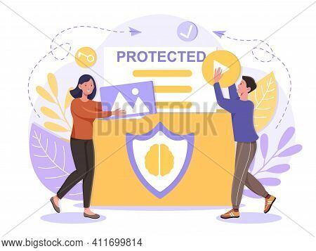 Intellectual Property Protection From Plagiarism Concept People Carry Protected Items Product Exclus