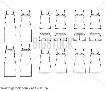Set Of Chemise Dresses Camisole Sleepwear Pajama Pants Technical Fashion Illustration With Lace, Ove