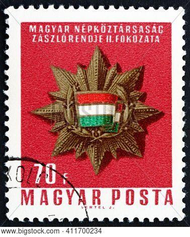 Hungary - Circa 1966: A Stamp Printed In Hungary Shows Banner Order, Second Class, Circa 1966