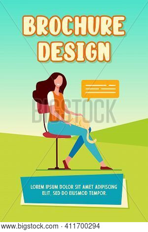 Happy Woman Enjoying Her Pet. Girl Holding Red Cat On Lap Flat Vector Illustration. Animal Care, Hom