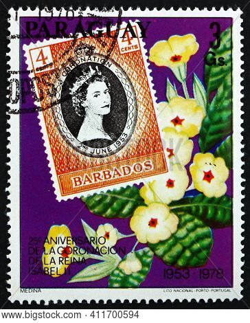 Barbados - Circa 1978: A Stamp Printed In Barbados Dedicated To Queen Elizabeth Ii Coronation Annive