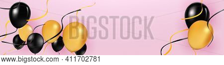 Black And Yellow Transparent Helium Balloons On Pink Background. Flying Latex Ballons. Vector Illust