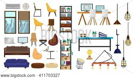 Vector Set Of Furniture For Creative Loft Interior, Coworking Or Open Space. Modern Lamps, Cupboards