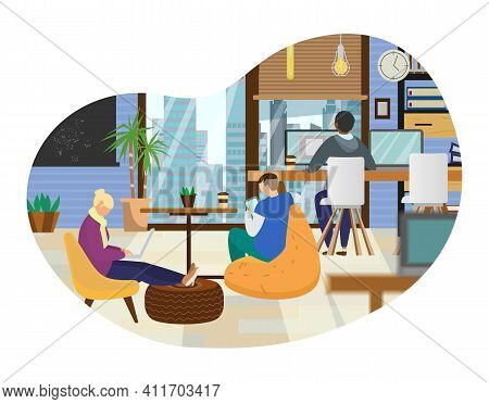 Coworking Office With Different People Working At Computers And Tablet. Loft Interior With Modern Fu