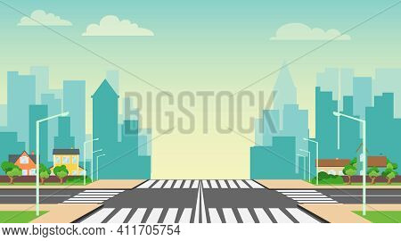 City Landscape. Street Crossroads Against The Background Of The Cityscape. Vector, Cartoon Illustrat