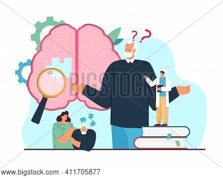 Sad Grandfather Losing Memory Isolated Flat Vector Illustration. Cartoon Elderly Character With Alzh