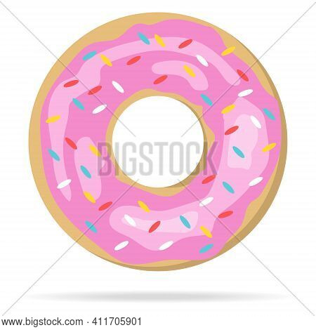 Donut, Realistic Donut With Pink Powder Isolated On White Background With Shadow. Vector, Cartoon Il