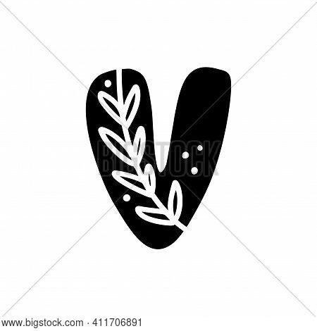 Vintage Floral Bold Letter V Logo Spring. Classic V Summer Letter Design Vector With Black Color And