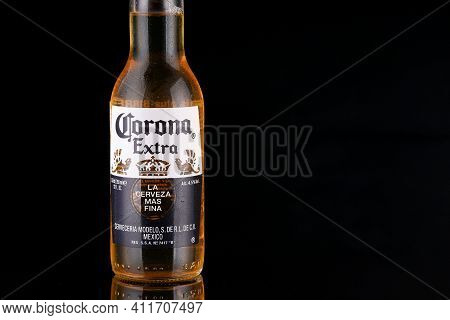 Lviv, Ukraine - April 30, 2020: Corona Bottle Of Beer Place For Text Cope Space