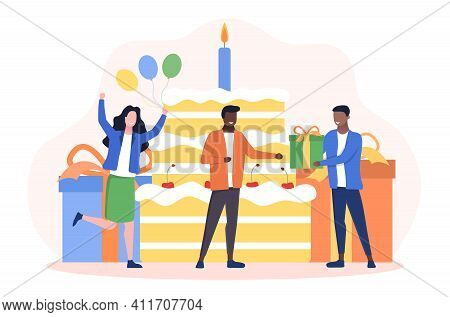 Happy Birthday Celebration Party Concept. Multiracial People Have Fun And Give A Gift To Afro-americ