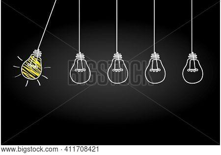 Good Idea. Banner Light Bulb Idea Concept, Creative Concept Light Bulb Drawn For Stock. Flat Style.