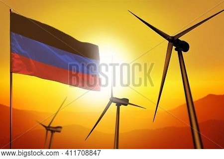 Donetsk Peoples Republic Wind Energy, Alternative Energy Environment Concept With Turbines And Flag