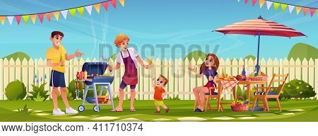 Bbq People Party On Garden Backyard, Happy Family Cooking Food Outdoors In Garden With Fence. Vector