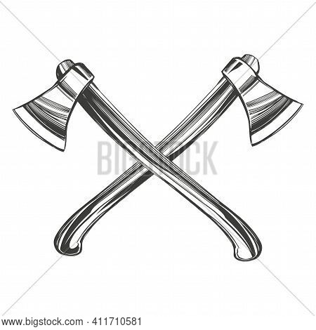 Axe With Wooden Handle Chopping Tool Hand Drawn Vector Illustration Sketch