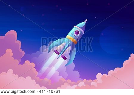 Space Ship Launch, Rocket With Fire Trace And Smoke In Blue Sky Atmosphere. Vector Takeoff Of Rocket