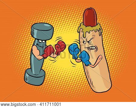 Hot Dog And Dumbbell Boxing. Healthy And Harmful Lifestyle. Boxing Competition Between Healthy Lifes