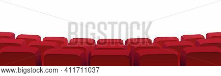 Rows Of Theater Movie Or Cinema Seats Isolated On White. Vector Blank Screen, Red Velvet Chairs In C