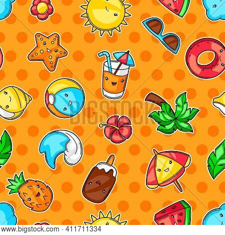 Seamless Pattern With Summer Items. Vacation And Beach Funny Character.