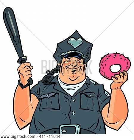 Fat Cop With A Doughnut. Cartoon Comic Book Pop Art Illustration Drawing