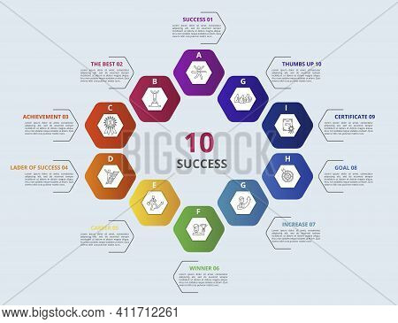 Infographic Success Template. Icons In Different Colors. Include Success, The Best, Achievement, Lad