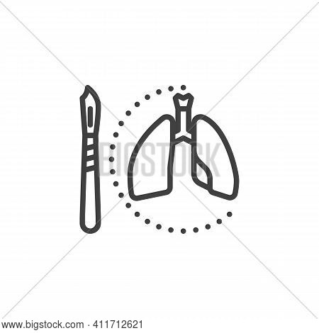 Lungs Surgery Line Icon. Linear Style Sign For Mobile Concept And Web Design. Human Lungs And Scalpe