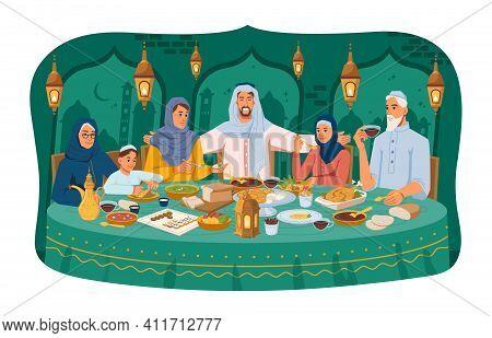 Muslim Family At Dinner, Iftar Ramadan Holiday Celebration, Arabic People In National Cloth, Lantern