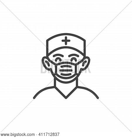 Surgeon Doctor Line Icon. Linear Style Sign For Mobile Concept And Web Design. Medical Practitioner