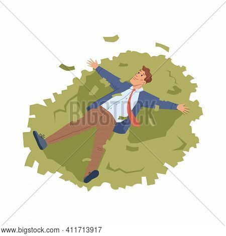 Businessman Lie On Heap Of Money Isolated Flat Cartoon Character. Vector Rich Person Swimming In Dol