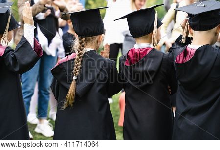 Russia Moscow 30.08.20.back To Primary School. Small Children Go To First Grade.graduating Ceremony.