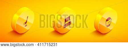 Set Isometric Ice Hockey Stick And Puck, Mausoleum Of Lenin And Christmas Mitten Icon. Vector