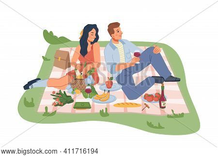 Picnic On Nature, Man And Woman Sitting On Blanket With Wine, Fruits And Vegetables Isolated Flat Ca