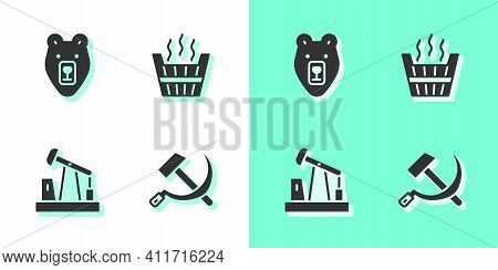 Set Hammer And Sickle Ussr, Bear Head, Oil Pump Or Pump Jack And Sauna Bucket Icon. Vector