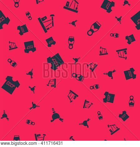 Set Cockerel Lollipop, Oil Pump Or Pump Jack, Ussr T-shirt And Russian Doll Matryoshka On Seamless P