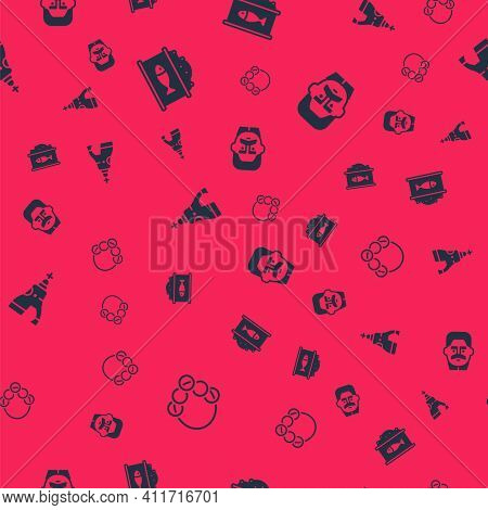 Set Russian Bagels, Tin Can With Caviar, The Tsar Bell And Joseph Stalin On Seamless Pattern. Vector