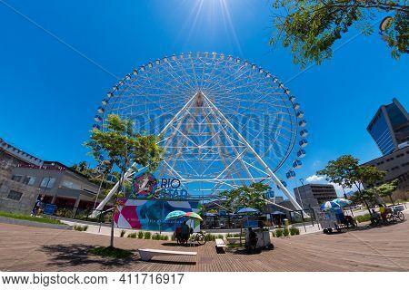 Rio De Janeiro, Brazil - January 14, 2021: Distorted Fish Eye View Of Rio Star Ferris Wheel In Olymp