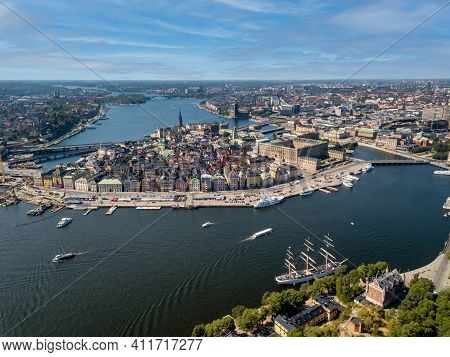 Aerial Shot Of Stockholm Old Town Island. This Image Would Be Perfect As An Industry Shot, Shipping,