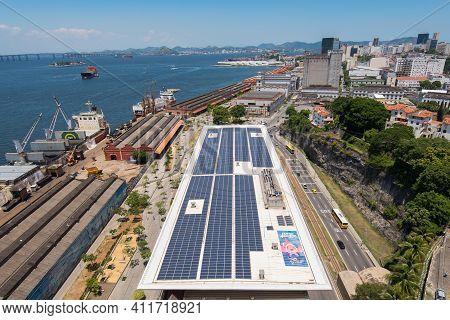 Rio De Janeiro, Brazil - January 19, 2021: Aerial View Of Rio De Janeiro City Port Zone With Aqua Ri