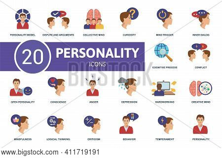 Personality Icon Set. Contains Editable Icons Personality Theme Such As Dispute And Arguments, Curio
