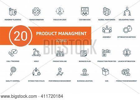 Production Management Icon Set. Contains Editable Icons Production Management Theme Such As Transfor