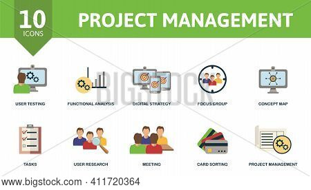 Project Management Icon Set. Contains Editable Icons Project Management Theme Such As Functional Ana